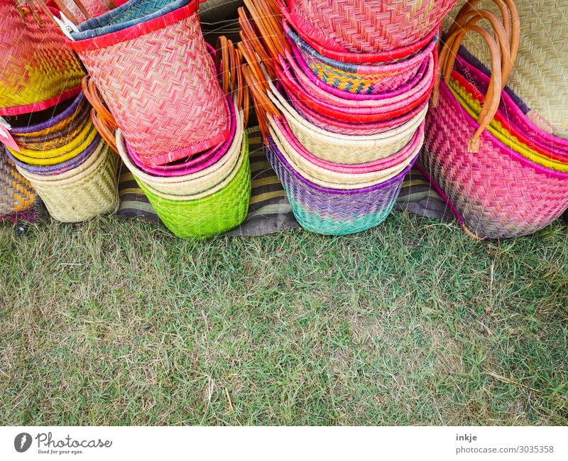 corsiche baskets Shopping Spring Grass Meadow Basket Bast Straw Many Green Pink Trade Market day Markets Market stall Stack Together Offer Plaited Handcrafts