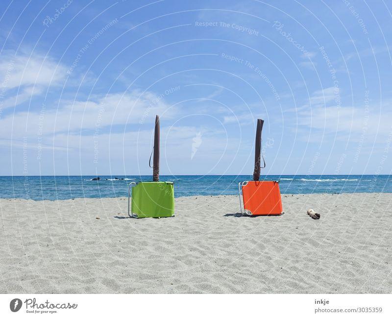 Sky Vacation & Travel Summer Blue Green Sun Ocean Beach Warmth Coast Orange Together Sand Leisure and hobbies Horizon Beautiful weather