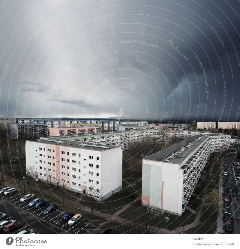 weather station Storm clouds Bad weather Rain Bautzen Lausitz forest Germany Small Town Downtown Populated House (Residential Structure) High-rise Building