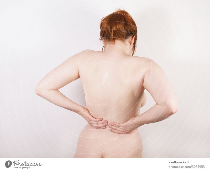 Woman with back pain Back pain Healthy Health care Illness Massage Young woman Youth (Young adults) Adults Body Red-haired Pain backache national disease Naked