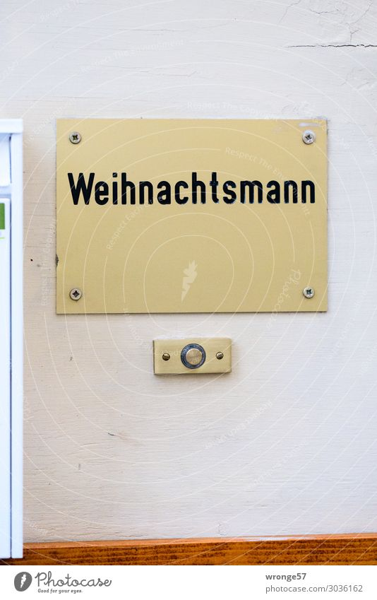 Santa Claus lives here Magdeburg Germany Europe Downtown House (Residential Structure) Facade Characters Signs and labeling Authentic Town Gold Black White