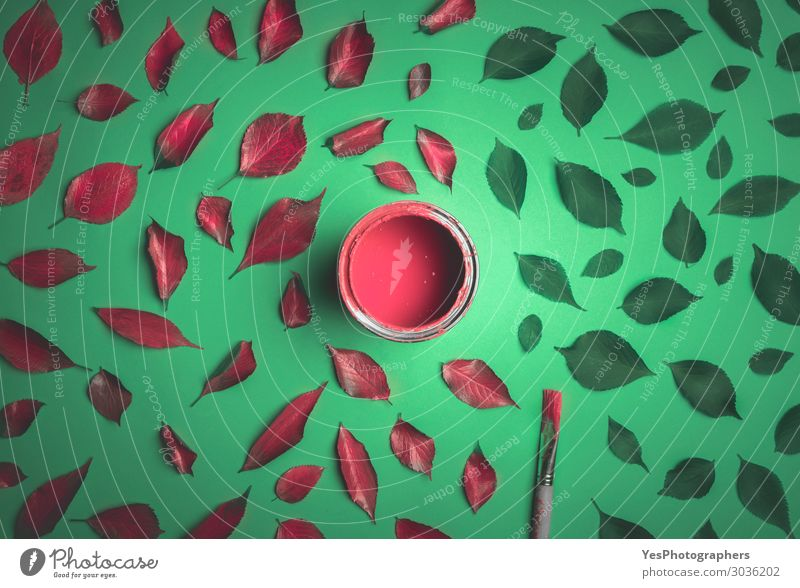Leaves painted in red on a green background. Design Happy Art Nature Plant Autumn Leaf Hip & trendy Modern Green Red Colour Idea Creativity Surrealism
