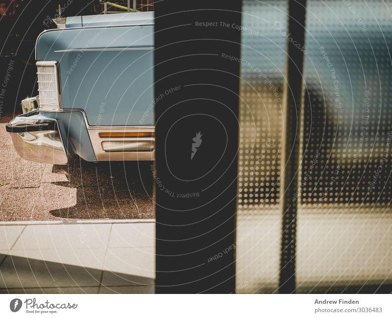 Oldtimer Window Door Means of transport Motoring Car Vacation & Travel Historic Retro Blue Vintage car Colour photo Subdued colour Detail Deserted