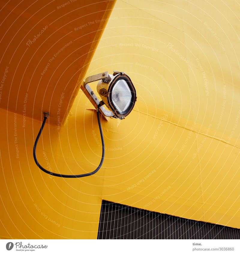 Yellow Wall (building) Time Wall (barrier) Lamp Design Metal Energy industry Perspective Observe Help Planning Protection Safety Cable Navigation