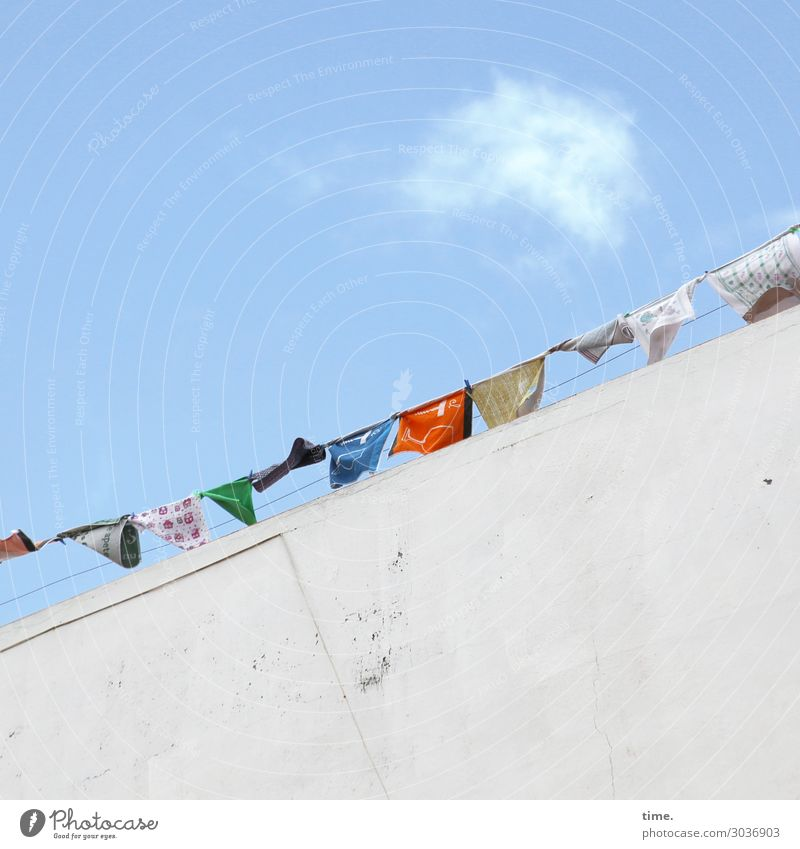 Airy garbage. Living or residing Sky Clouds Beautiful weather House (Residential Structure) Wall (barrier) Wall (building) Cloth Laundry Clothesline