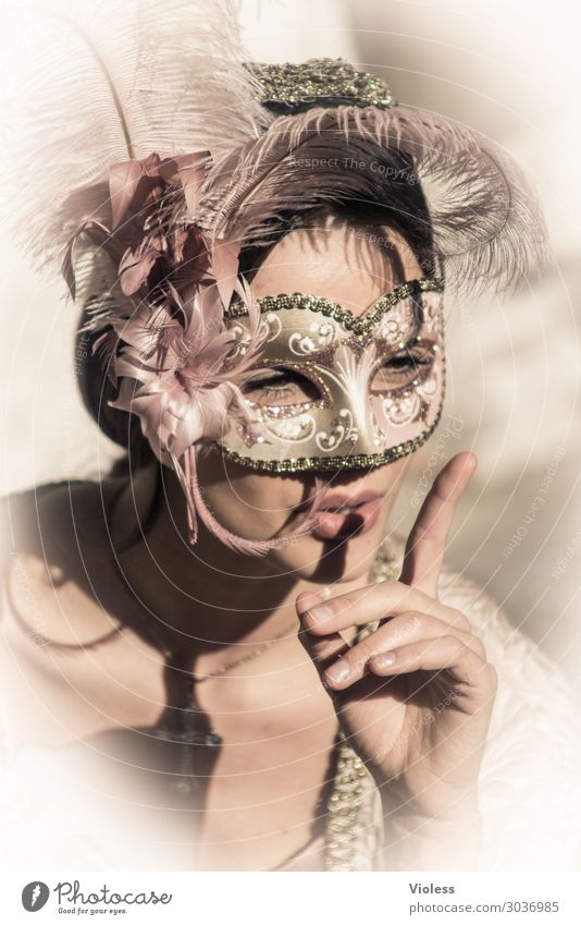 Arwen II Venice Carnival Mask Portrait photograph Feminine Woman Adults Passion Emotions Moody Exterior shot Front view Forward Respect quiet