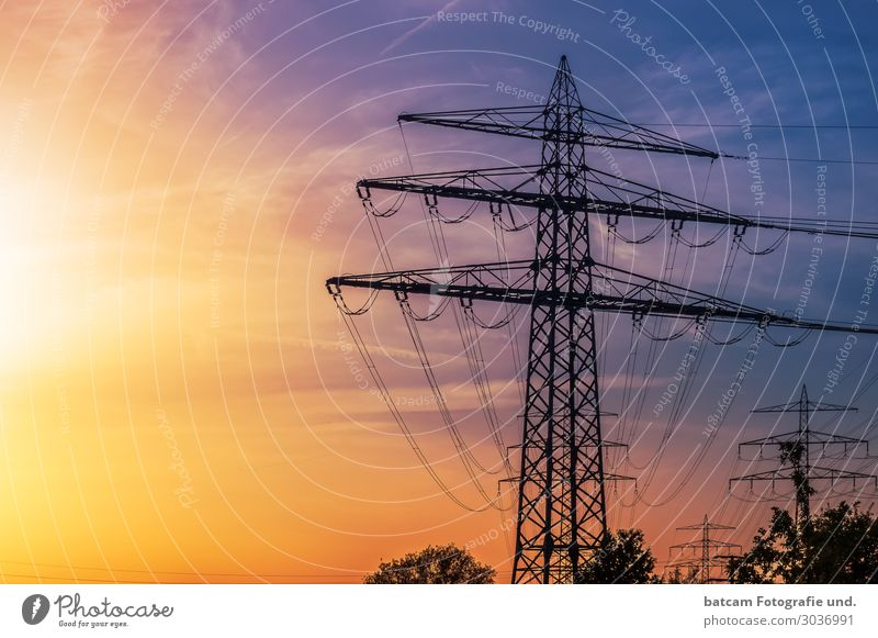 High voltage pylon in bright sunlight Energy Save Energy industry Cable Renewable energy Solar Power Nuclear Power Plant Yellow Alternative Electricity