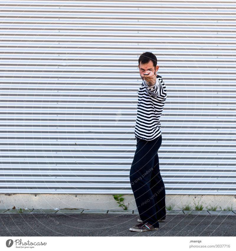 Gotcha! Fix Looking into the camera Man Stand Line Black White Stripe Aim Adults test