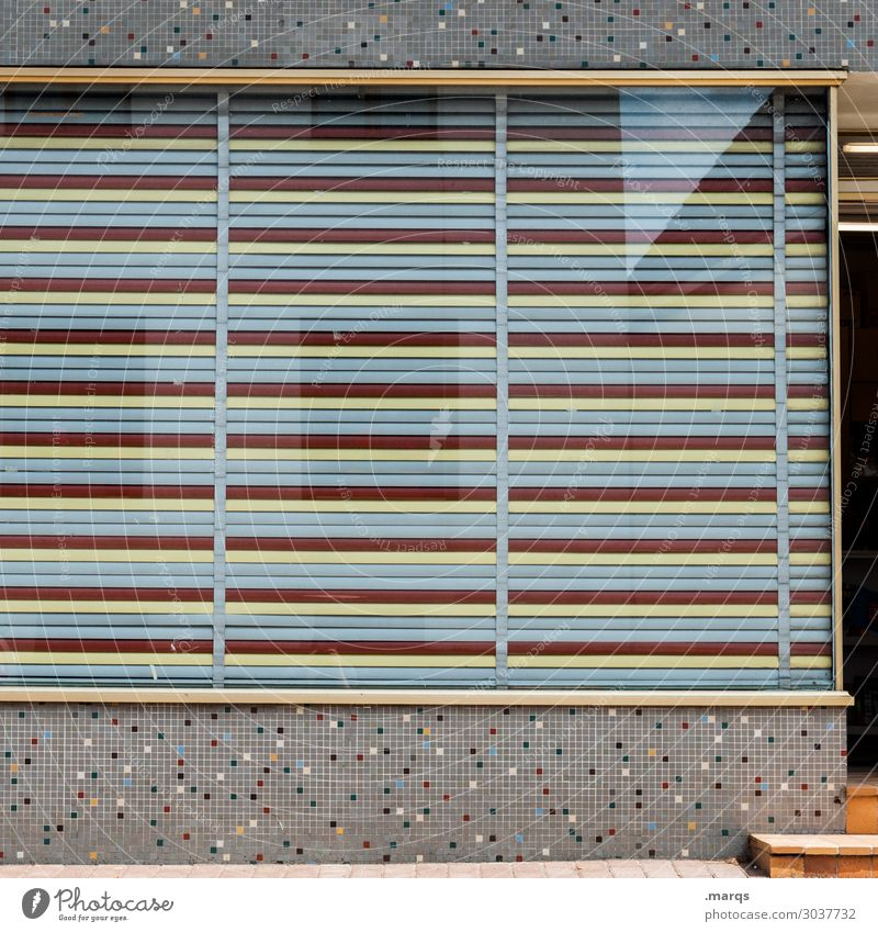 store Town Wall (barrier) Wall (building) Window Store premises Shutter Mosaic Glass Yellow Gray Red Retail sector Closed Colour photo Exterior shot Pattern