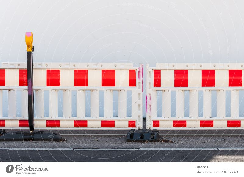 construction site Barrier Construction site Transport Street Red White Safety Colour photo Exterior shot Deserted Copy Space top Isolated Image