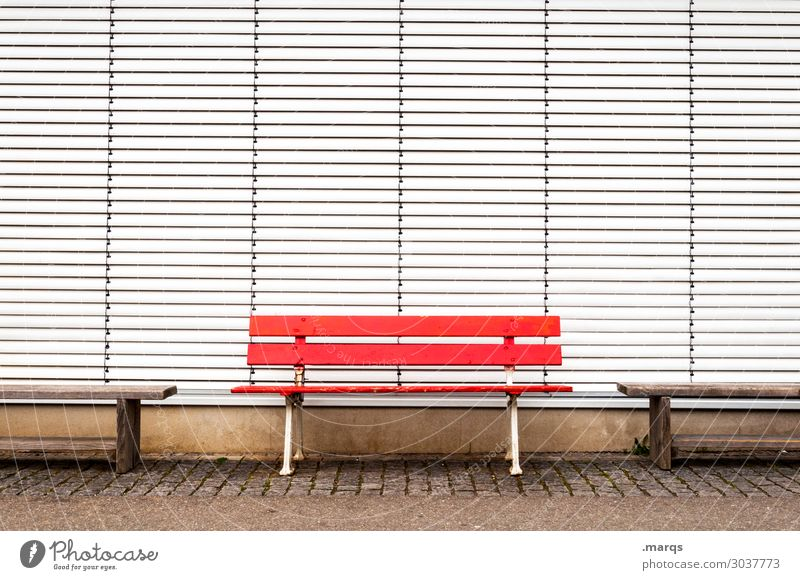banking Downtown Bench Roller shutter Closed Relaxation Red White Colour Empty Colour photo Exterior shot Deserted Copy Space left Copy Space right