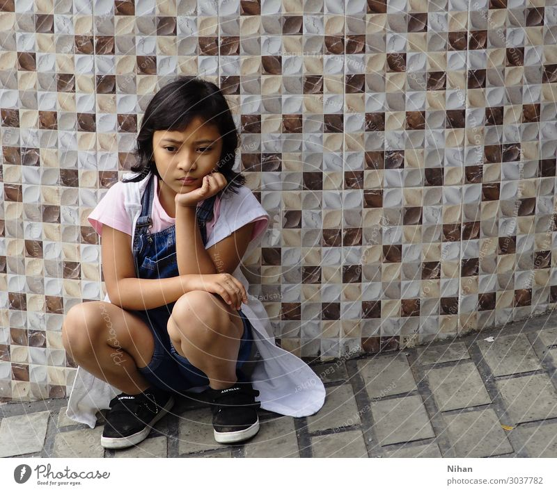 cranky Human being Child Girl 1 3 - 8 years Infancy Cloth Footwear Black-haired Concrete Think Cute Anger Blue Brown Pink White Moody Disappointment Aggravation