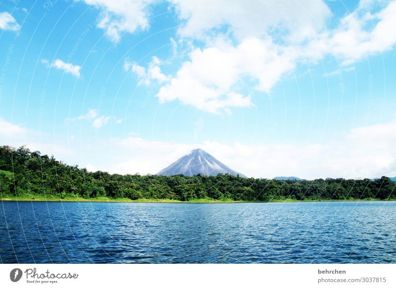 favorite volcano Vacation & Travel Tourism Trip Adventure Far-off places Freedom Environment Nature Landscape Water Sky Clouds Virgin forest Volcano arena Lake