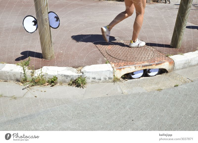 streetworker Human being Eyes Legs Art Going Comic Gully Sidewalk Street Pedestrian Looking Hiding place Pole Curbside Colour photo Subdued colour Exterior shot