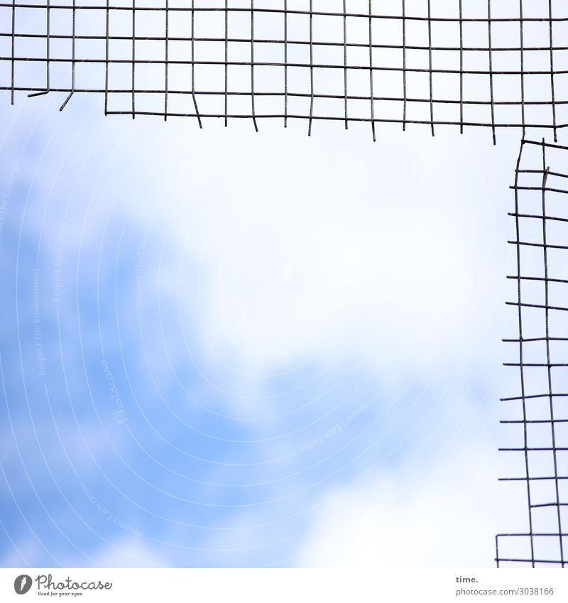 Airy, sky in the Q. Art Sculpture Sky Clouds Beautiful weather Kassel Tourist Attraction Grating Mesh grid Metal Line Network Exceptional Bright Tall Broken