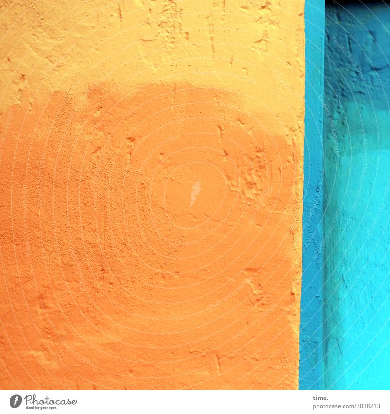 orange yellow|blue turquoise Wall (barrier) Wall (building) Plaster Colour Stone Concrete Friendliness Happiness Blue Yellow Orange Turquoise Watchfulness Life