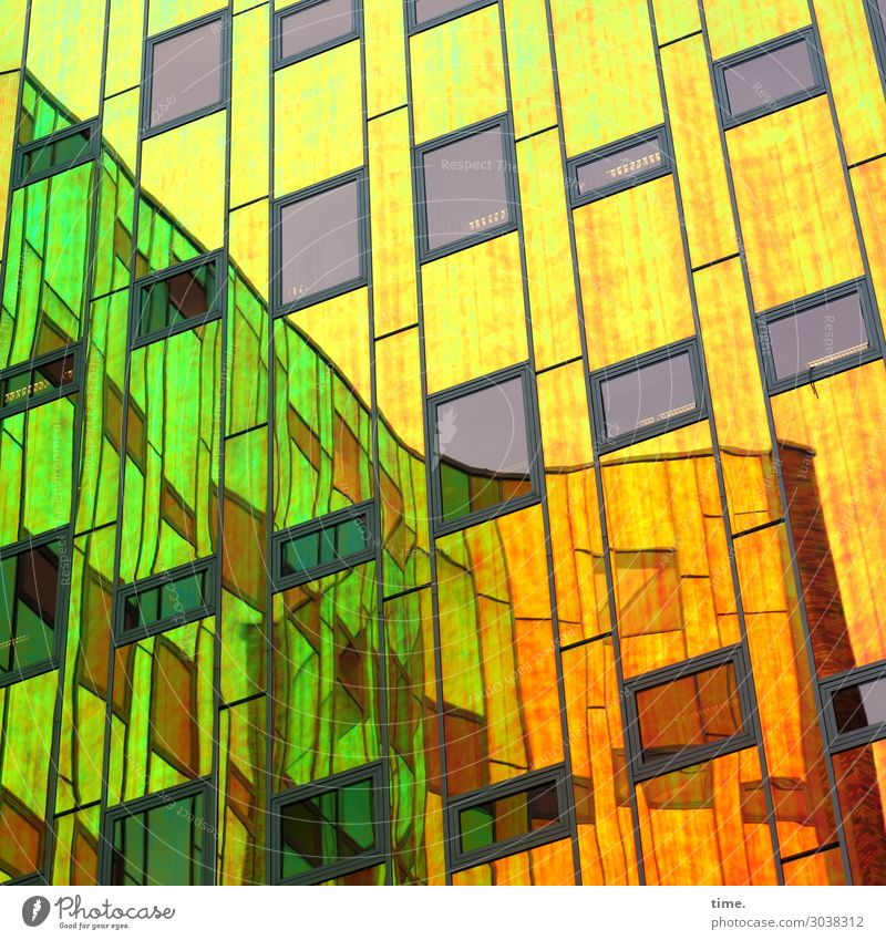 ArtHouse (III) Architecture Dream house High-rise Wall (barrier) Wall (building) Facade Window Glas facade Tourist Attraction Glass Line Stripe Multicoloured