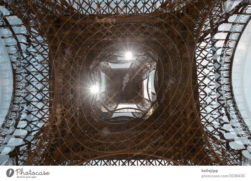 under the tum tum rumturnen Tourism Trip Tourist Attraction Landmark Eiffel Tower Turquoise Paris France Double exposure Iron iron construction Decoration