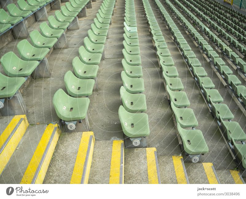 12 to 10 Design Stands Stadium Seat Prenzlauer Berg Stairs Concrete floor Row Plastic Stripe Authentic Long Modern Many Green Moody Conscientiously Orderliness