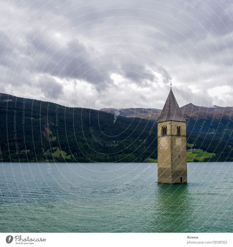 the downfall of the Occident... Water Alps Lake Lake Reschen Mountain lake Reservoir Reschnpass South Tyrol Church Ruin Tower Church spire Tourist Attraction