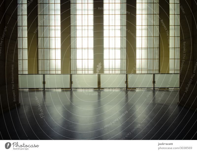 monumental Architecture Neoclassicism Airport Berlin-Tempelhof Main hall Hall Window Handrail Window transom and mullion Esthetic Authentic Sharp-edged great