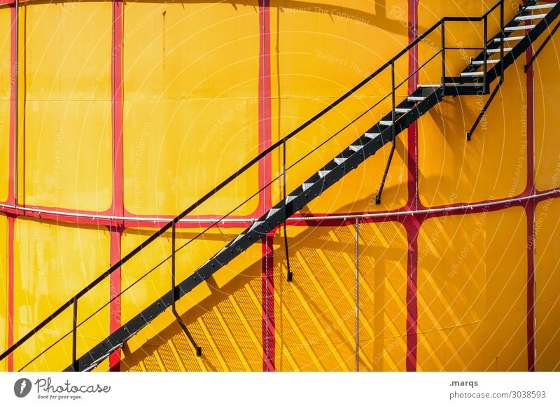 1ST FLOOR Industry Wall (barrier) Wall (building) Stairs Yellow Red Black Colour Above Colour photo Exterior shot Deserted Copy Space left Copy Space right