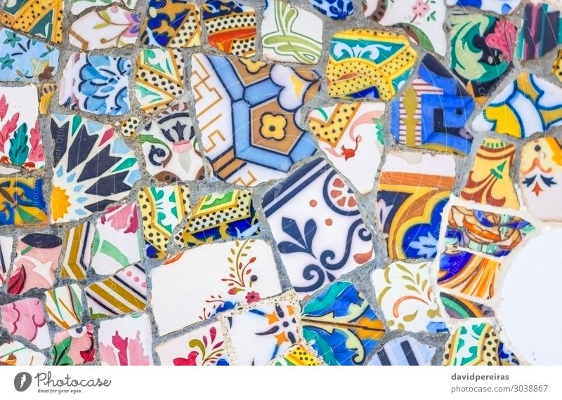 Colorful ceramic mosaics in park Guell, Barcelona Design Vacation & Travel Decoration Art Culture Park Architecture Monument Stone Modern Colour Mosaic guell