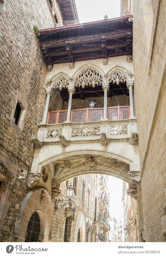 Gothic bridge in Carrer del Bisbe street, in Barcelona, Spain Vacation & Travel Tourism Places Bridge Building Architecture Facade Balcony Monument Street Stone