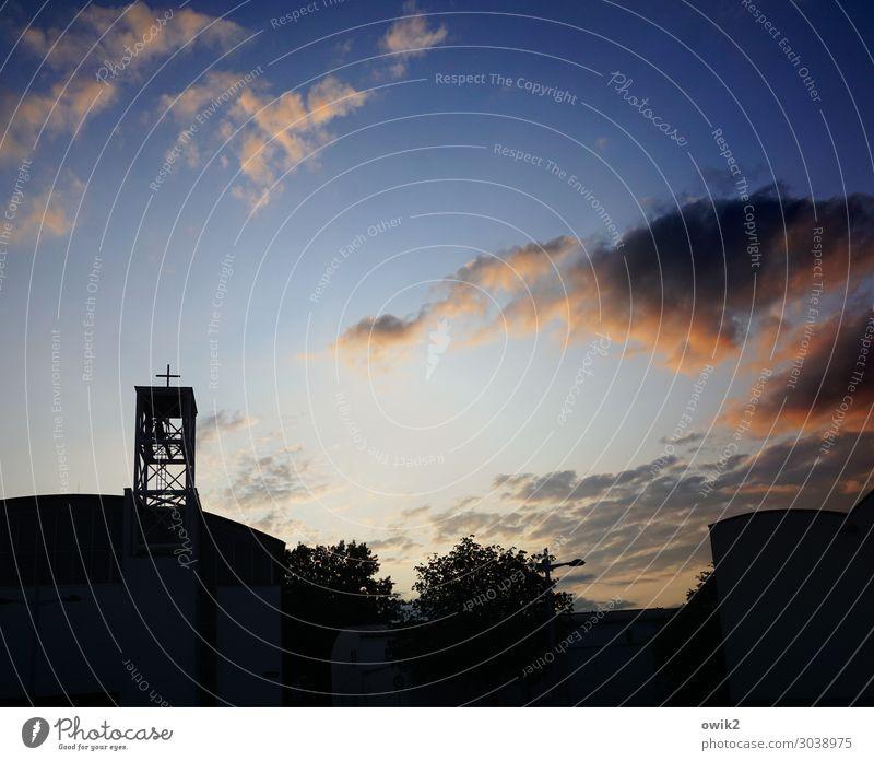 Sky Tree Clouds Dark Religion and faith Horizon Illuminate Modern Church Large Tall Skyline Capital city Dusk Christian cross Outskirts