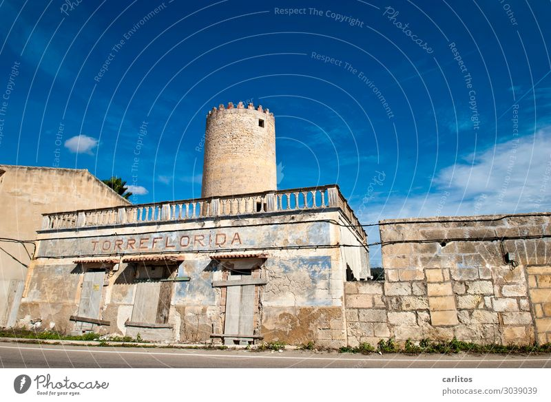 Manacor | Torre Florida Spain Balearic Islands Majorca Tower Mill Old Derelict Romance Watch tower Lookout tower sentinel Handrail Facade Sandstone Mares