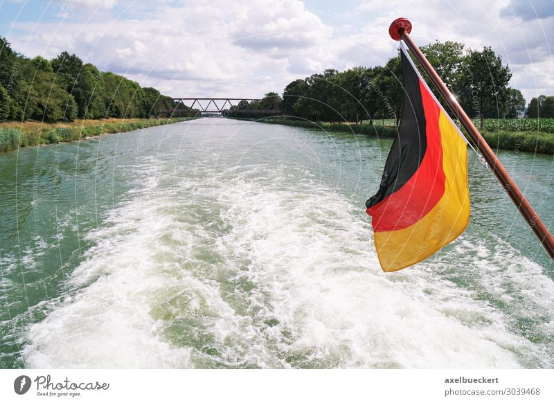 Vacation & Travel Summer Water Relaxation Lifestyle Tourism Watercraft Trip Leisure and hobbies Transport Waves German Flag River Logistics Navigation