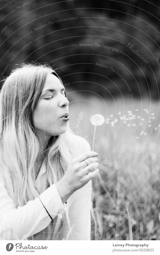 dandelion Feminine Hand Environment Nature Tree Flower Grass Blossom Shirt Dream Long-haired Ring Dandelion Black & white photo Exterior shot Detail Day