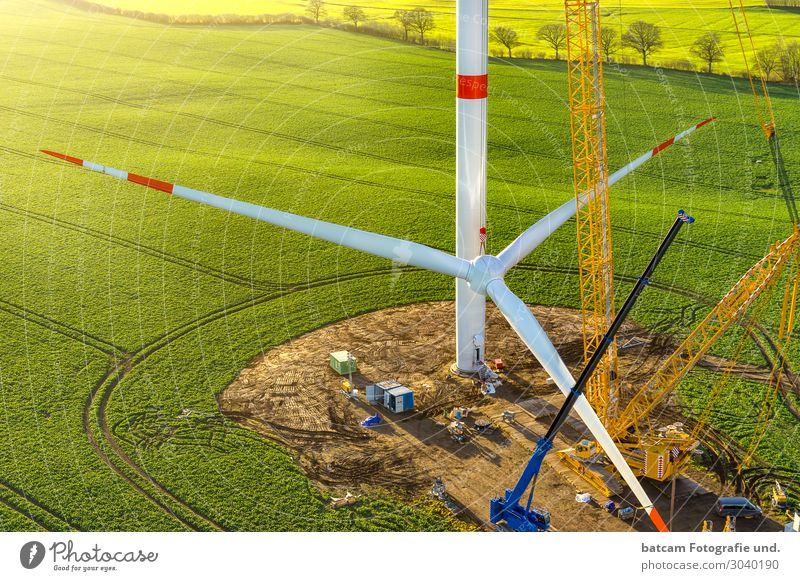 wind turbine star train wind turbine erection Technology Renewable energy Wind energy plant Nature Landscape Climate Climate change Field Sustainability