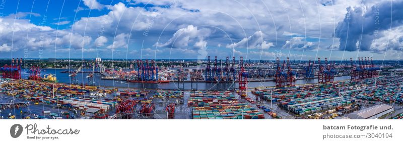Panorama Port of Hamburg Tourism Sightseeing City trip Summer Trade Logistics Technology Beautiful weather Downtown Harbour Tourist Attraction Navigation