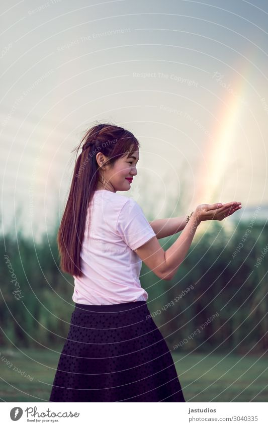 Mujigae Human being Sky Youth (Young adults) Young woman Hand Environment Grass 13 - 18 years Stand To enjoy Beautiful weather Observe Discover Rainbow Braids