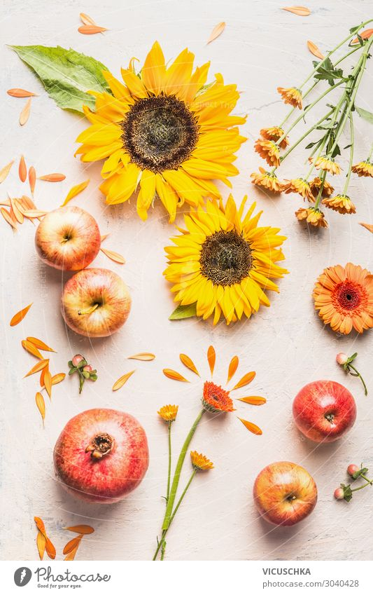 Summer flat lay with apples, sunflowers, pomegranate Fruit Apple Style Design Spring Flower Decoration Bouquet Sunflower Pomegranate Composing Bright background