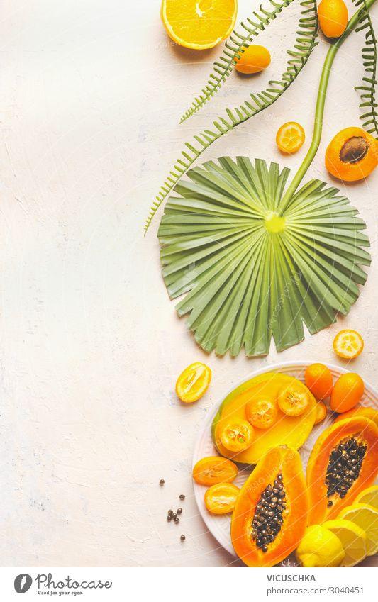 Yellow fruit Food Fruit Dessert Nutrition Organic produce Vegetarian diet Diet Design Healthy Eating Summer tropical fruits plate Papaya Vitamin