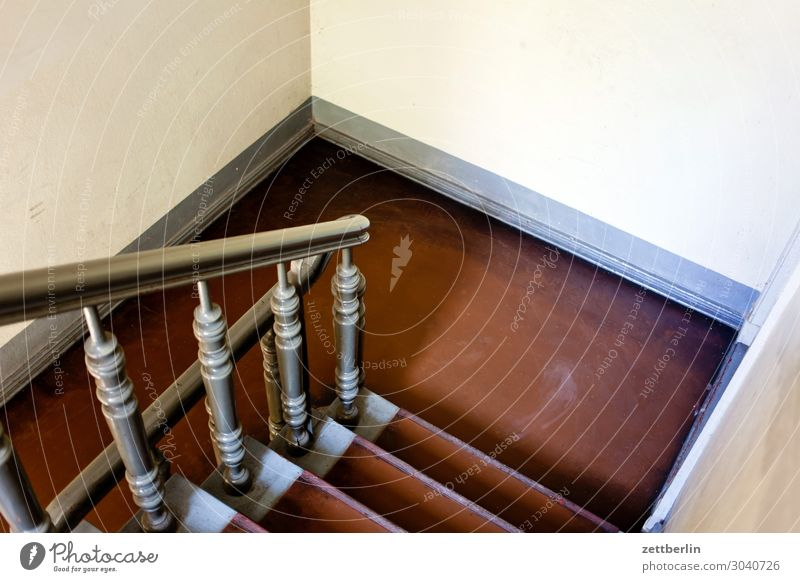 landing Stairs Landing Descent Go up Window Handrail Banister Apartment house Deserted Town house (City: Block of flats) Copy Space