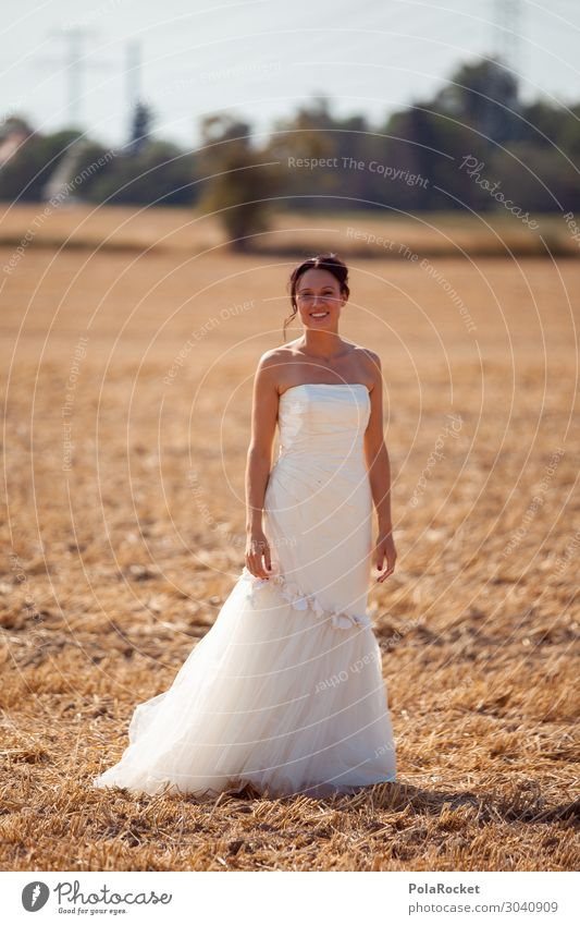 #AS# Wedding field I Art Work of art Esthetic Bride Wedding dress Bridal veil Dress Woman Ceremony Wedding ceremony White Colour photo Subdued colour