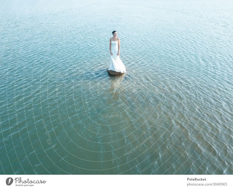 #AS# outstanding day III Art Esthetic Nature Dress Bride Wedding dress Bridal veil Loneliness Woman Ocean Far-off places Exterior shot Surface of water Fairy