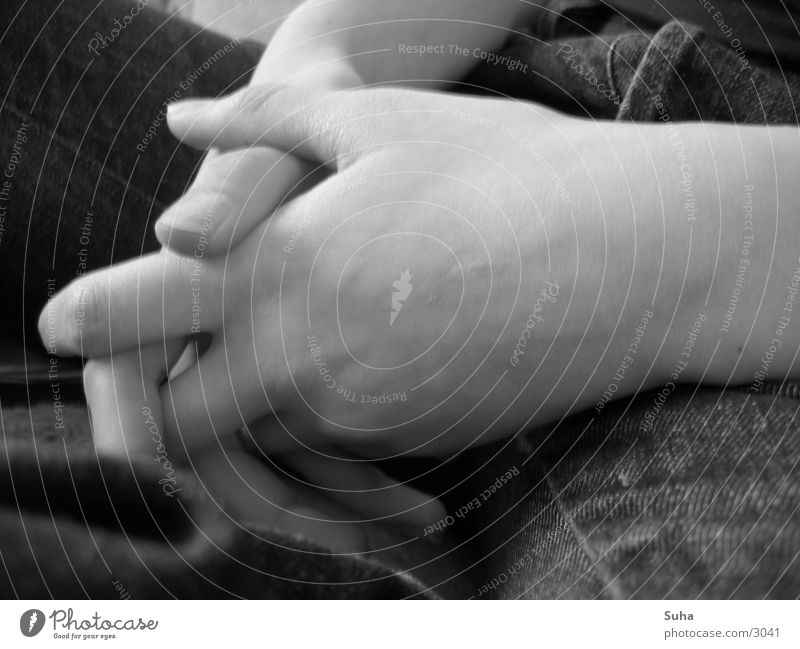 Folded hands Hand Prayer Fingers Vessel Human being shot Black & white photo Jeans Skin