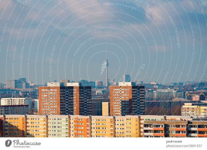 field marker Facade Authentic Tower Landmark Tower block GDR Outskirts Prefab construction Berlin TV Tower Quarter Town house (City: Block of flats) Marzahn