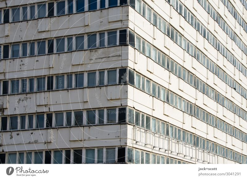 House of Statistics GDR Alexanderplatz Downtown Berlin Office building Complex of buildings Prefab construction Facade Corner Sharp-edged Long Retro Gray