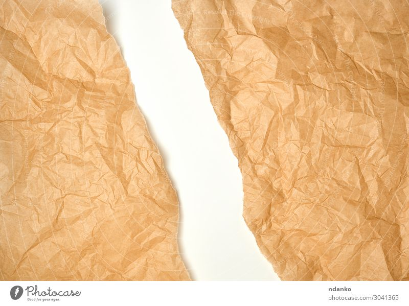 torn crumpled brown parchment paper Design Decoration Craft (trade) Paper Old Retro Brown White backdrop background Blank Cut cut off empty frame Gap Half Hole
