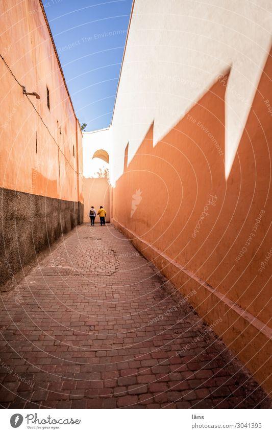 Medina l Marrakech Marrakesh Alley Shaft of light Wall (building) Shadow Light Silhouette Contour