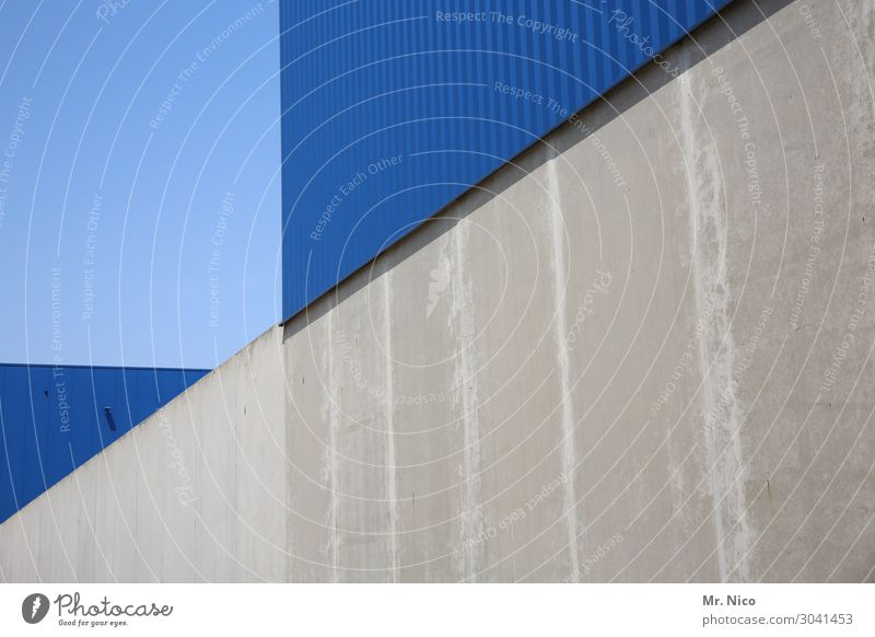 Think around the corner Manmade structures Building Architecture Wall (barrier) Wall (building) Blue Gray Concrete Light blue Triangle Industrial plant