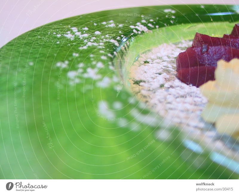Green Nutrition Sweet Plate Dessert Confectioner`s sugar Glas plate