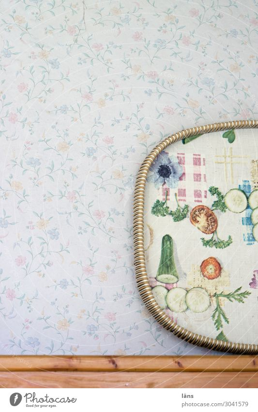 tablet Living or residing Flat (apartment) Wallpaper Kitchen Simple Retro Uniqueness Nostalgia Wall (building) Tray Pattern Vegetable Flower Interior shot