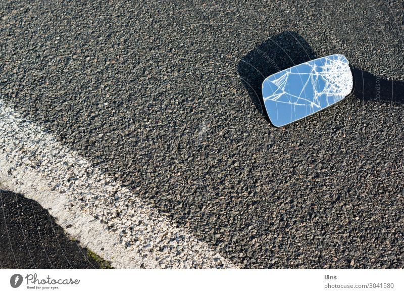 mishap Transport Motoring Street Lanes & trails Car Mirror Broken Under Gray Concern Grief Disappointment Fear Horror Perturbed Frustration Disaster Speed Risk