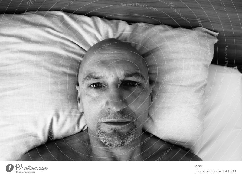 gloomy thoughts Human being Masculine Life 1 45 - 60 years Adults Bald or shaved head Looking Sadness Lovesickness Fatigue Reluctance Disappointment Loneliness